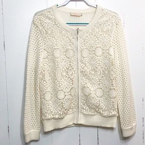 Tory Burch Crochet Full Zip Cardigan Sweater